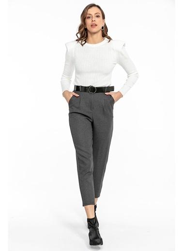 Tiffany&Tomato Yün Efekt Diagonal Pantolon Antrasit